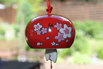 Ceramic Wind Chime, Red Cherry, 7cm